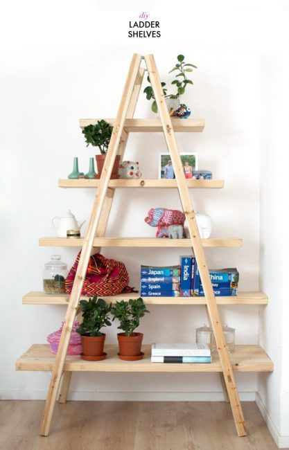Decorar con escaleras de madera