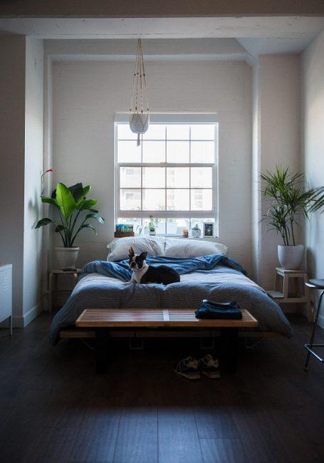 Dormitorio con banco de cama