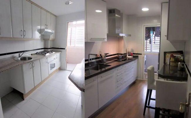 Reforma de cocina antes y después